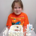 student with her ice castle
