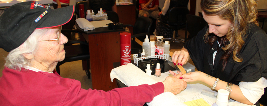 Veteran Receives Manicure by CV-TEC Cosmetology Student