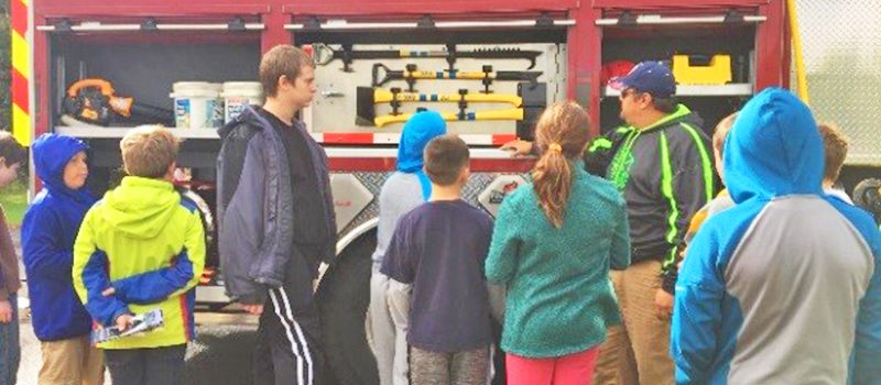 CVES Community Day 2018 - Students look at a fire truck from the Plattsburg City Fire Department