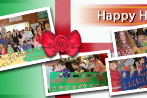 Image of collected photos of children being festive.