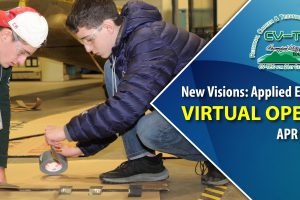 image of two students constructing a house in new visions applied engineering at CV-TEC. Virtual Open House for the program is Apr 15 from 7pm to 8pm